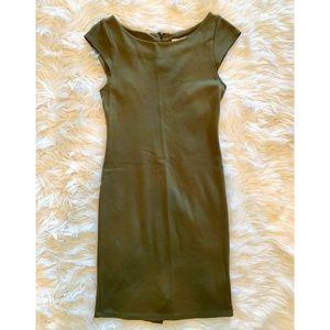 ALICE OLIVIA Army Green Cap Sleeve Bodycon Dress